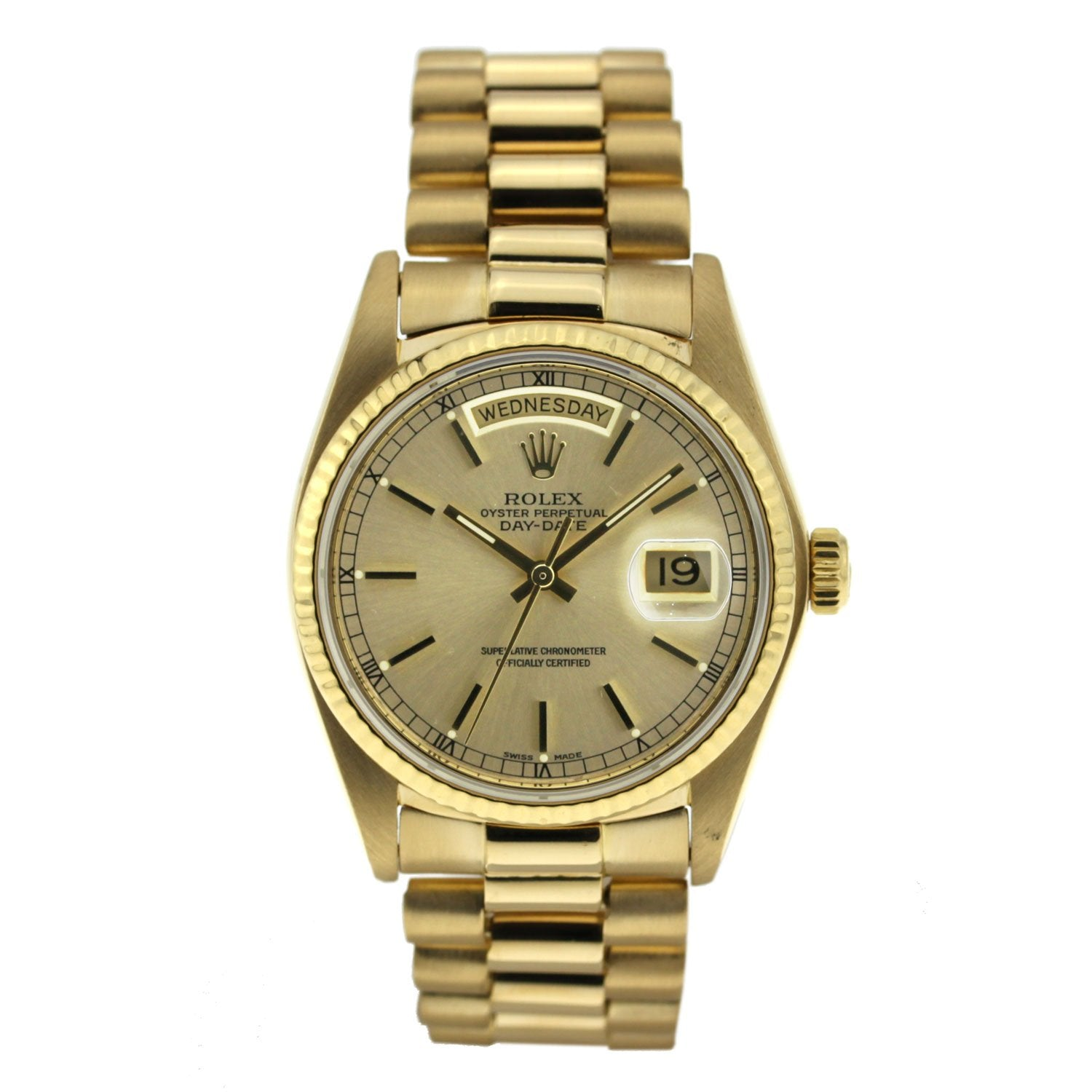 Vintage Rolex Day Date Yellow Gold Index Dial 36mm 18038