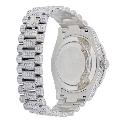 18K White Gold Rolex Diamond Watch, Day Date II 218239 41mm, Red Dial With 20.70CT Diamonds