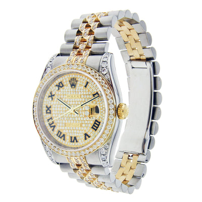 Rolex Datejust Diamond Watch, 36mm, Stainless Steel and Yellow Gold with Diamonds 116203