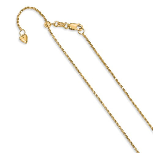 14K 1.2 mm Adjustable Rope Chain Available Size 22""