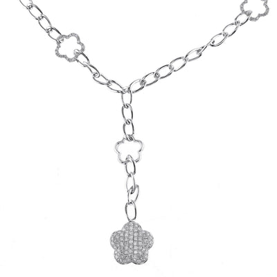 18K White Gold Link Chain with Diamond Stars 1.43CT