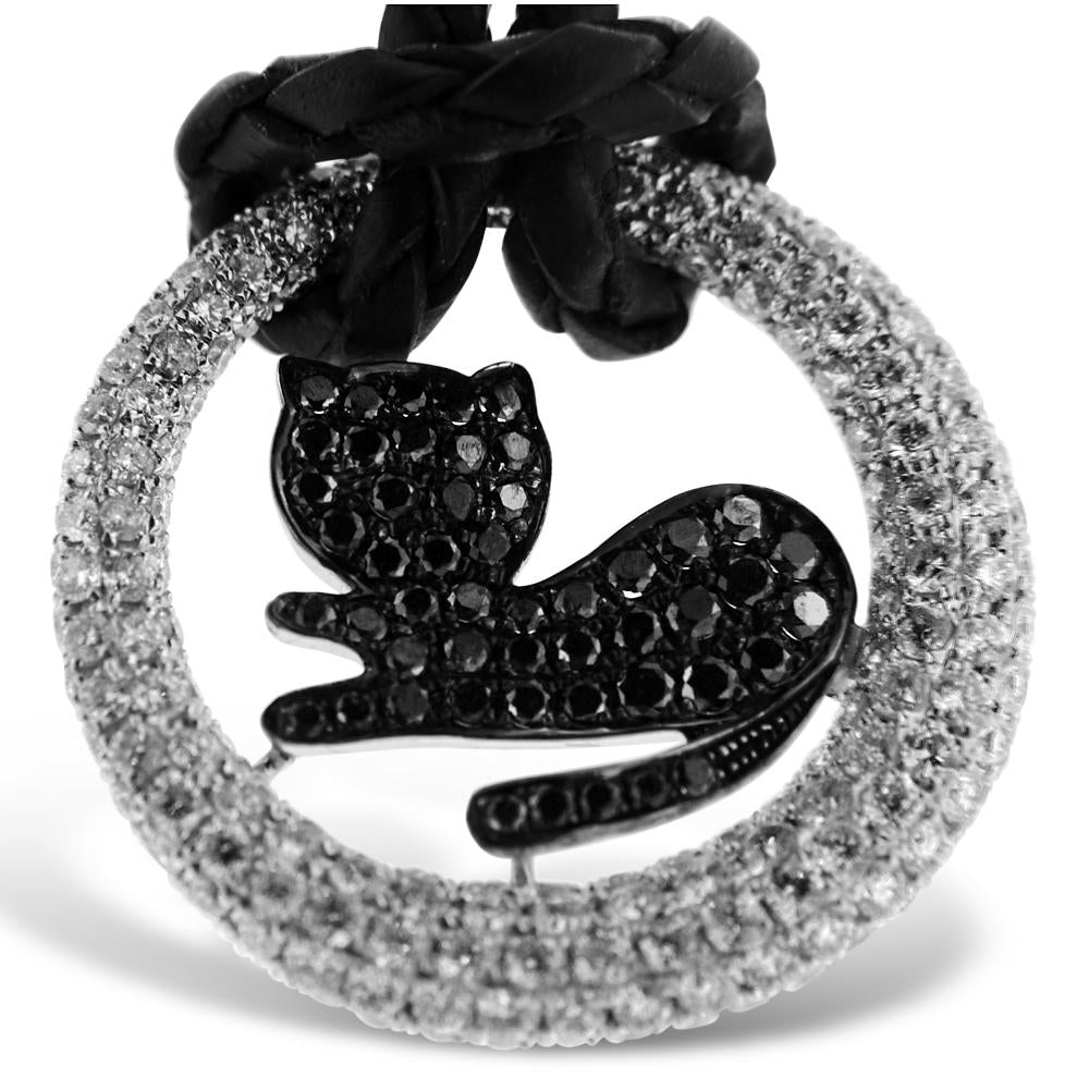 18K White Gold Black Cat Diamond Pendant With A Total Of 3.00CT