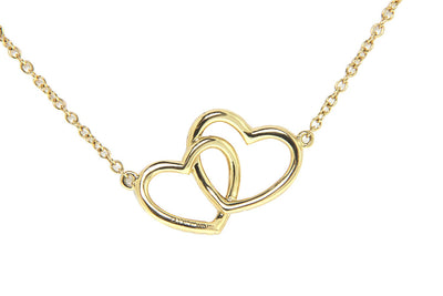 18K Yellow Gold Double Heart Diamond Pendant with Chain 0.66CT