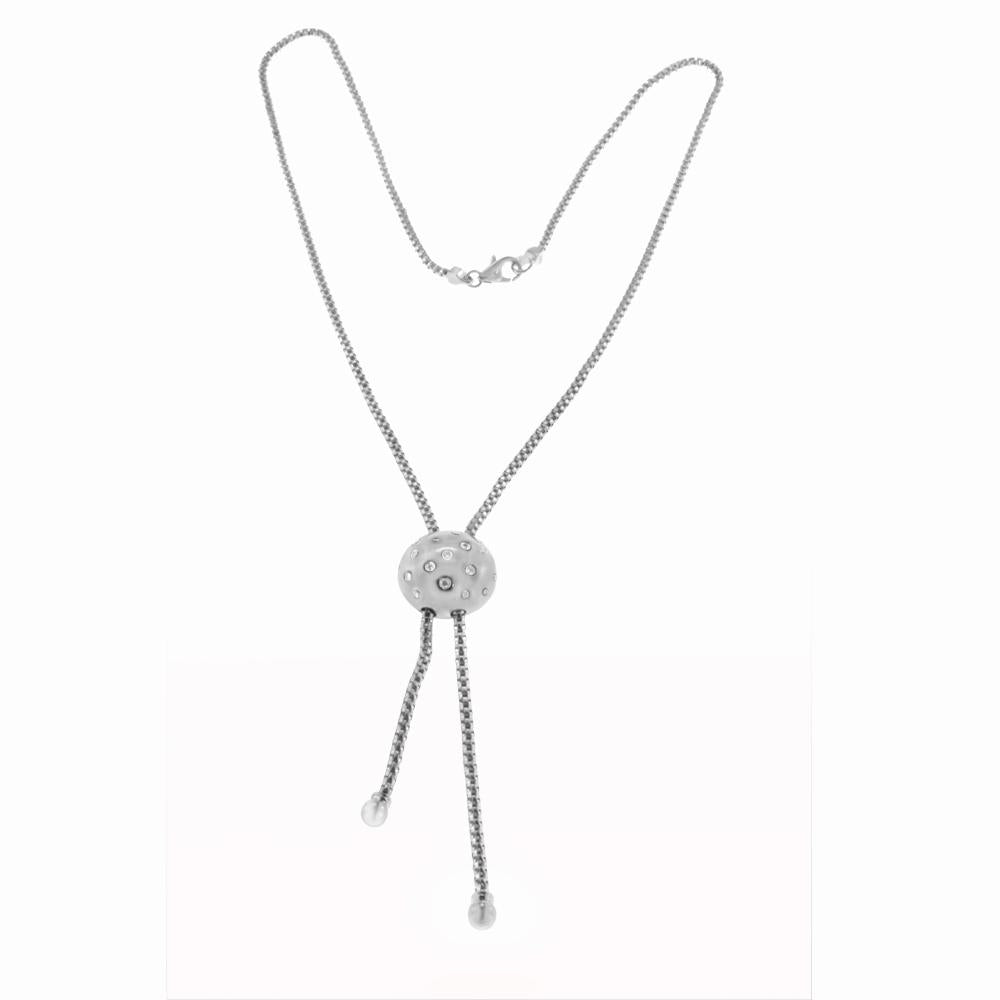 14K White Gold Diamond Ball Necklace With 0.26CT