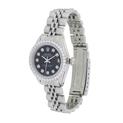 Rolex Lady Datejust 26MM, Black Dial And Stainless Steel 6917