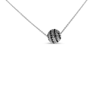 White Gold White and Black Diamond Ball Necklace