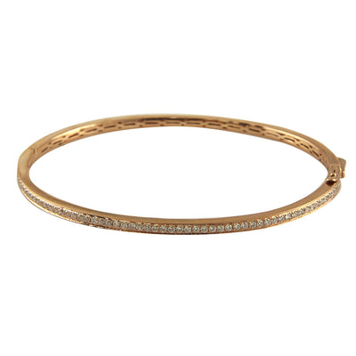 Rose Gold Bangle with Round Diamonds