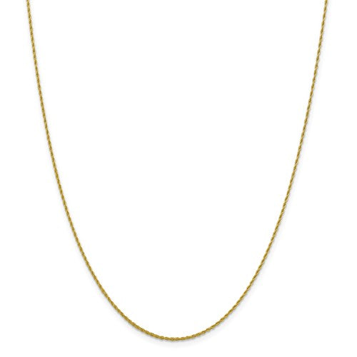 "10K Yellow Gold 1.2 mm Loose Rope Chain Available Sizes 16""-24"""