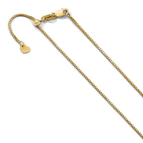 "10K Yellow Gold .9 mm Adjustable Box Chain Available Sizes 22""-30"""