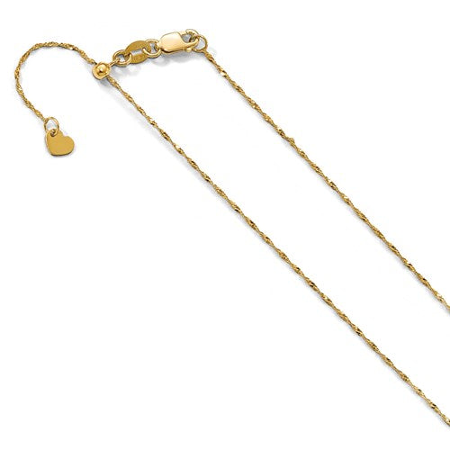 10K Yellow Gold 1 mm Adjustable Singapore Chain Available Size 22""
