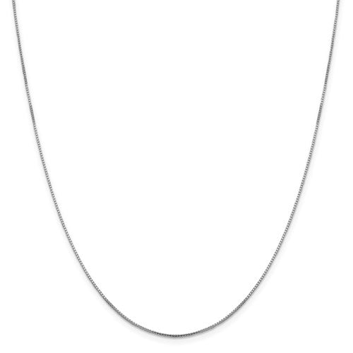 "10K White Gold .95 mm Oct. Sparkle Box Chain Available Sizes 16""-20"""