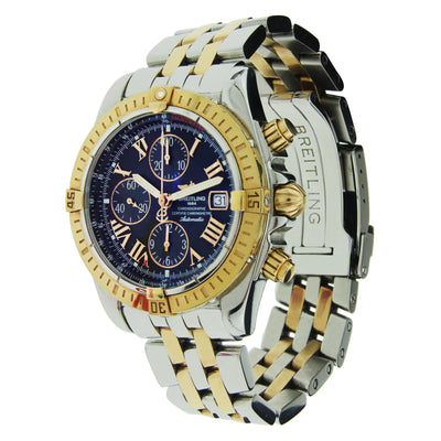 Breitling Chronomat Evolution Stainless Steel & Yellow Gold with Blue Dial 44mm