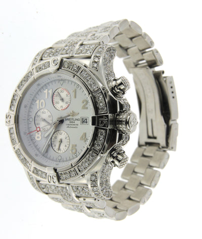 Stainless Steel Breitling Super Avenger with White Diamonds