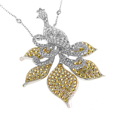 White Gold Yellow Sapphire and Diamond Necklace