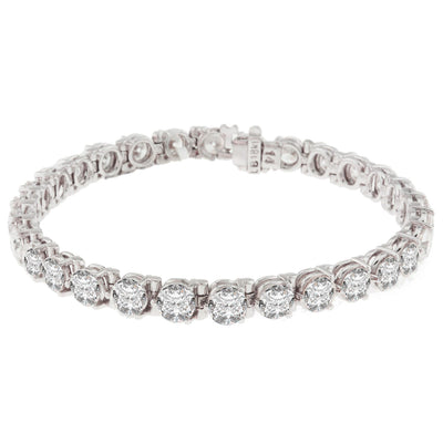 18K White Gold Diamond Tennis Bracelet With Round Cut Diamonds 13.25CT