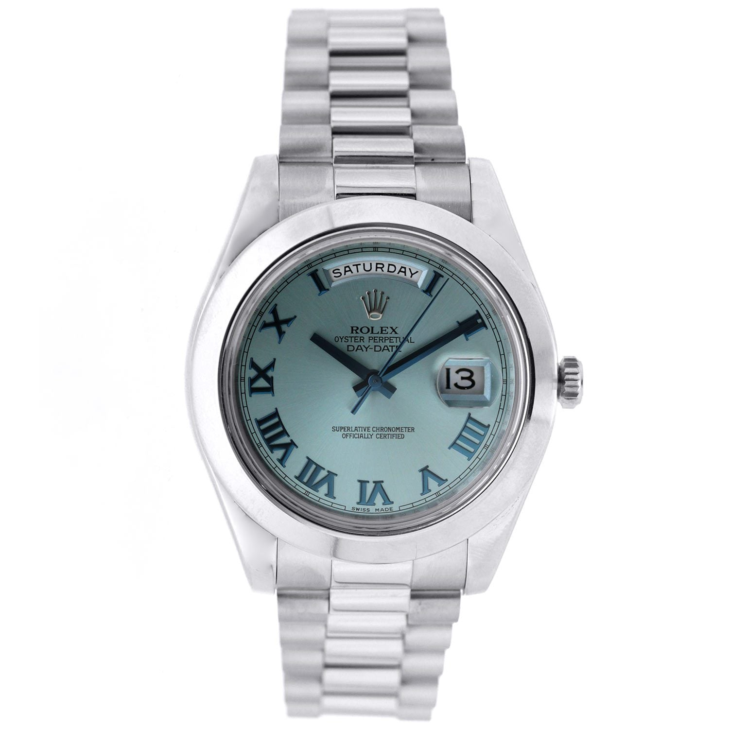 Platinum Rolex Day Date II President 41mm Ice Blue with Blue Roman Numerals Dial 218206