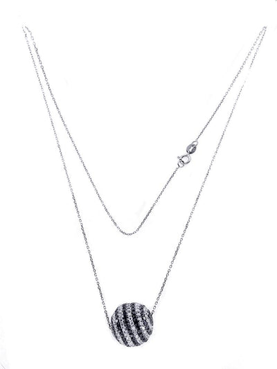 White Gold Ball Necklace with Black and White Diamonds