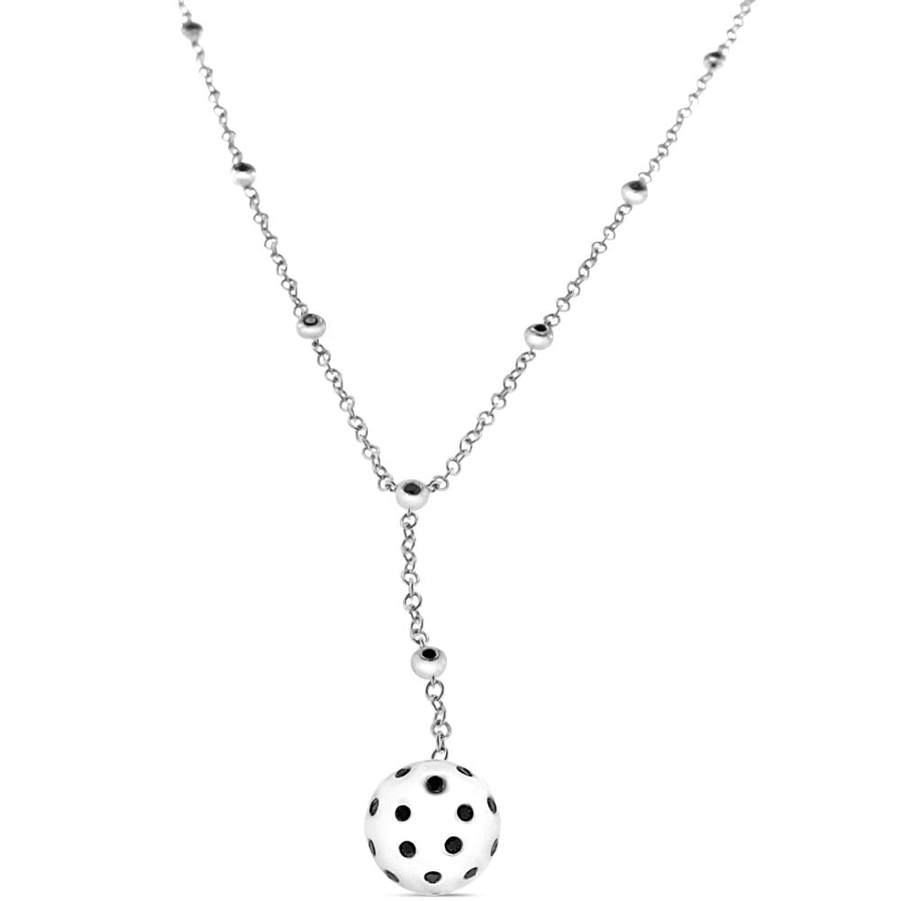 18K White Gold Ball Necklace with Black Diamonds