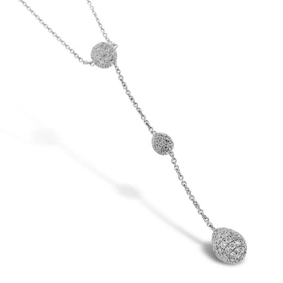 White Gold Diamond Ball Necklace