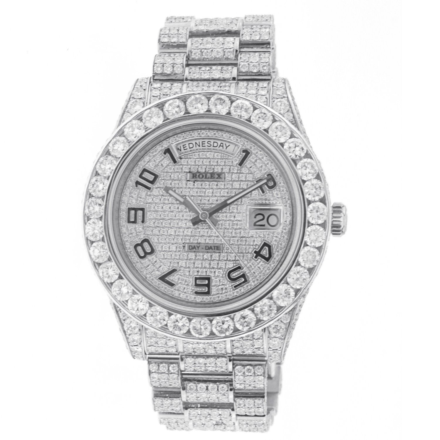 18K White Gold Rolex Diamond Watch, Day Date II 21839 41mm, with 33.25 CT Diamonds