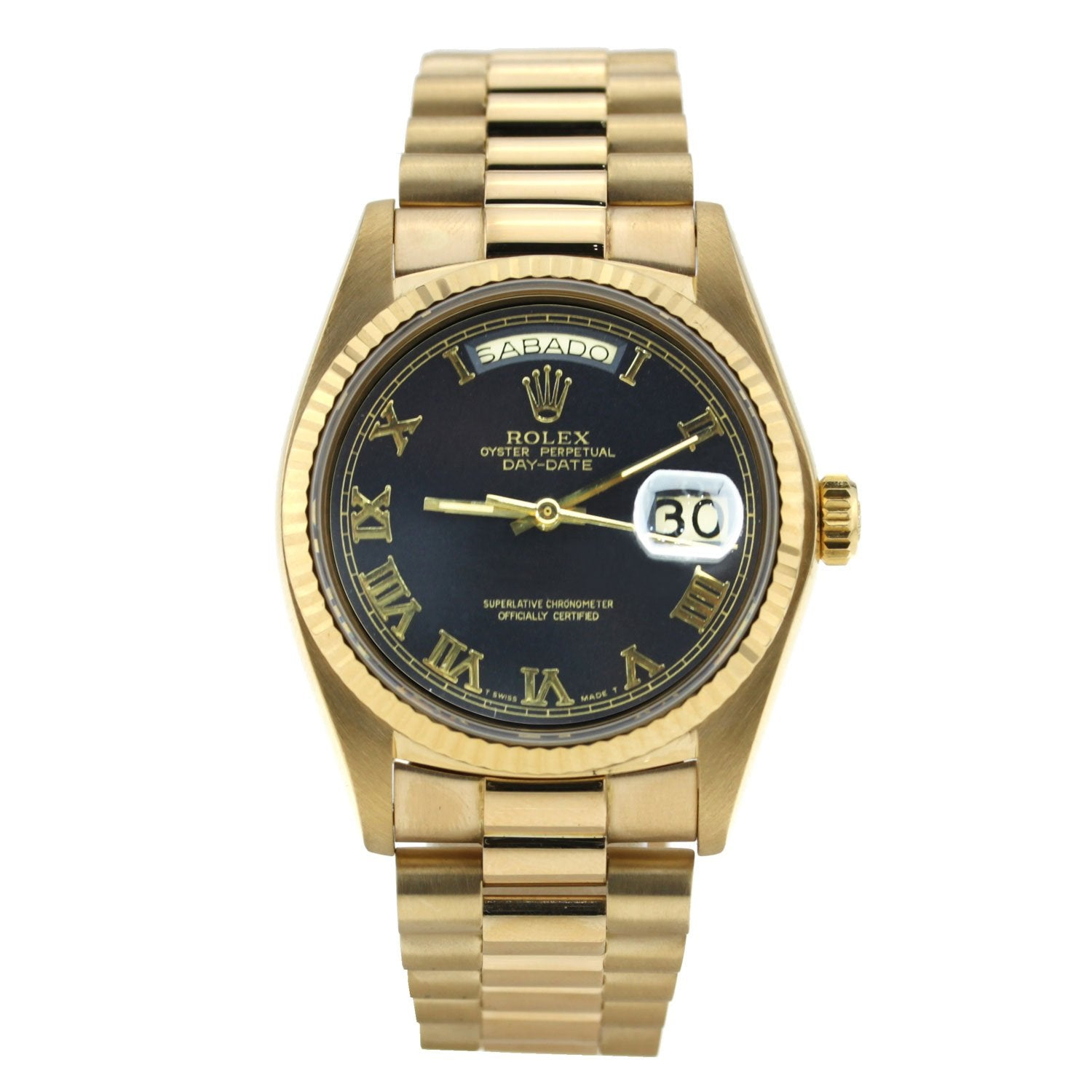 Rolex Day-Date Yellow Gold Roman Numeral Dial 36mm 18238