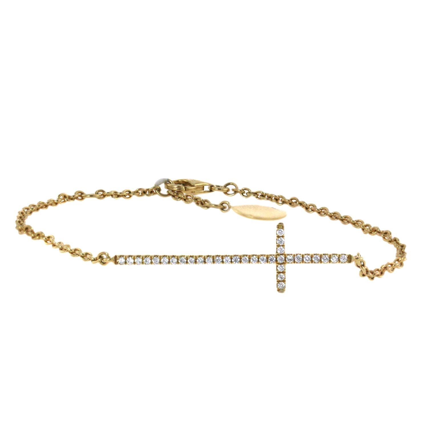 18K Yellow Gold Diamond Sideways Cross Bracelet With Round Cut Diamonds and 0.18CT