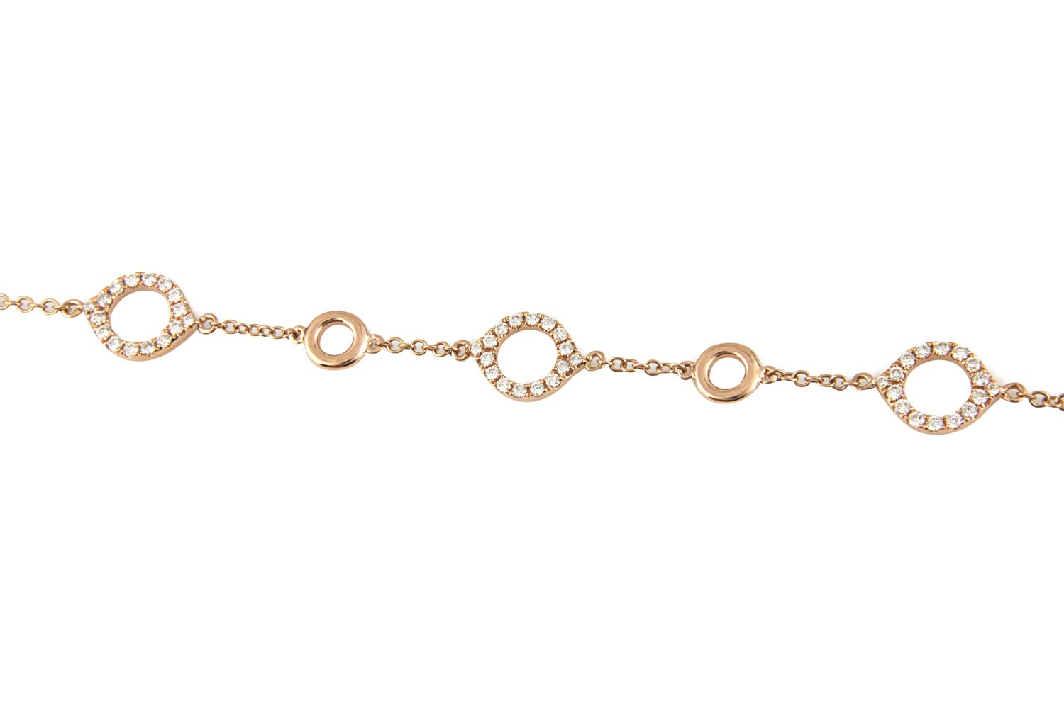 18K Yellow Gold Diamond Bracelet with Round Cut Diamonds And Circle Design 0.71CT
