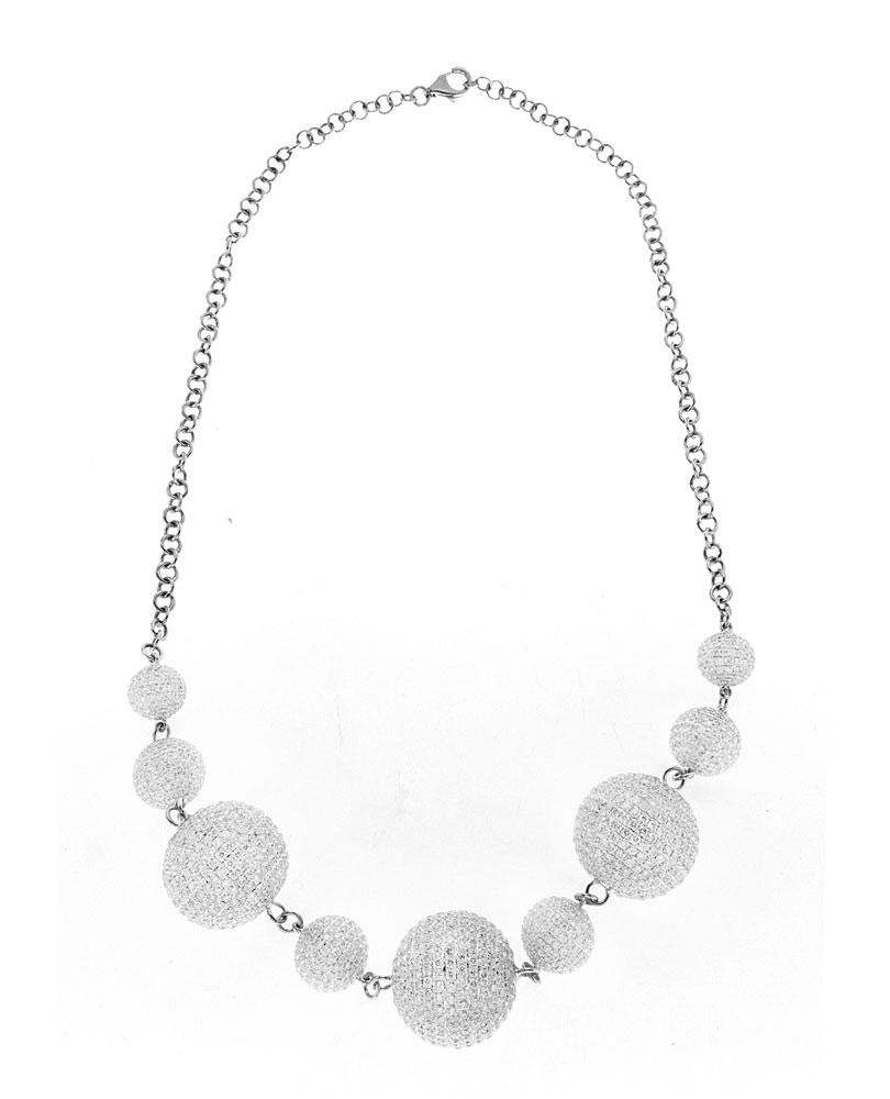 14K White Gold Necklace with White Diamond Balls 27.00CT