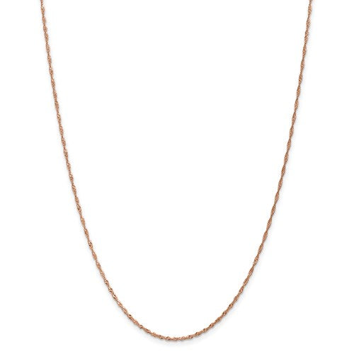 "14K Rose Gold 1 mm Singapore Chain Available Sizes 16""-24"""