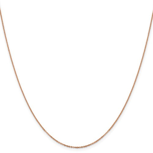 "14K Rose Gold 1.1 mm Flat Cable Chain Available Sizes 16""-24"""