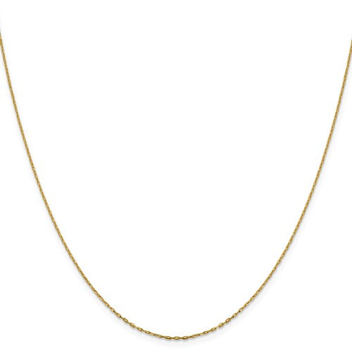 "14K Yellow Gold 1 mm Long Open Cable Link Chain Available Sizes 16""-26"""
