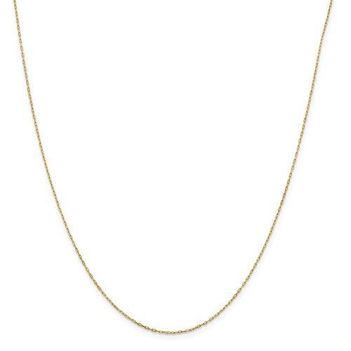 "14K Yellow Gold .95 mm Long Open Cable Link Chain Available Sizes 16""-20"""