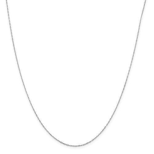 "14K White Gold .95 mm Long Open Cable Link Chain Available Sizes 16""-20"""