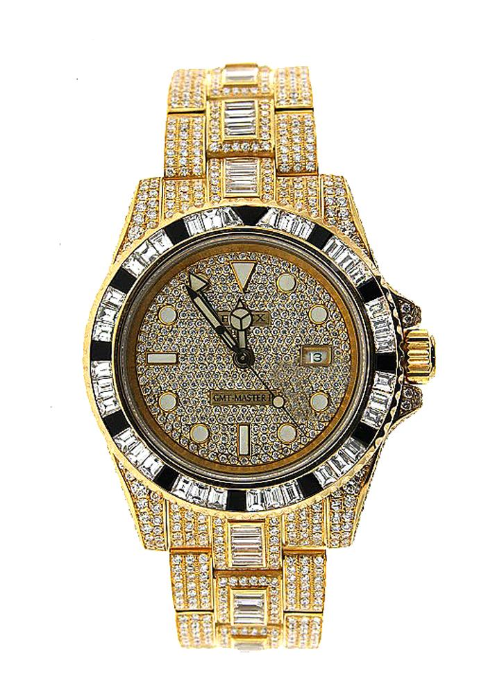 18K Yellow Gold Rolex Diamond Watch, GMT Master II 116758 40mm, Diamond Dial W/ 40CT Diamond Bezel, Lugs and Bracelet