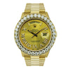 18K Yellow Gold Rolex Diamond Watch, Day Date 36mm, Champagne with Roman Numerals With 4CT Diamond Bezel