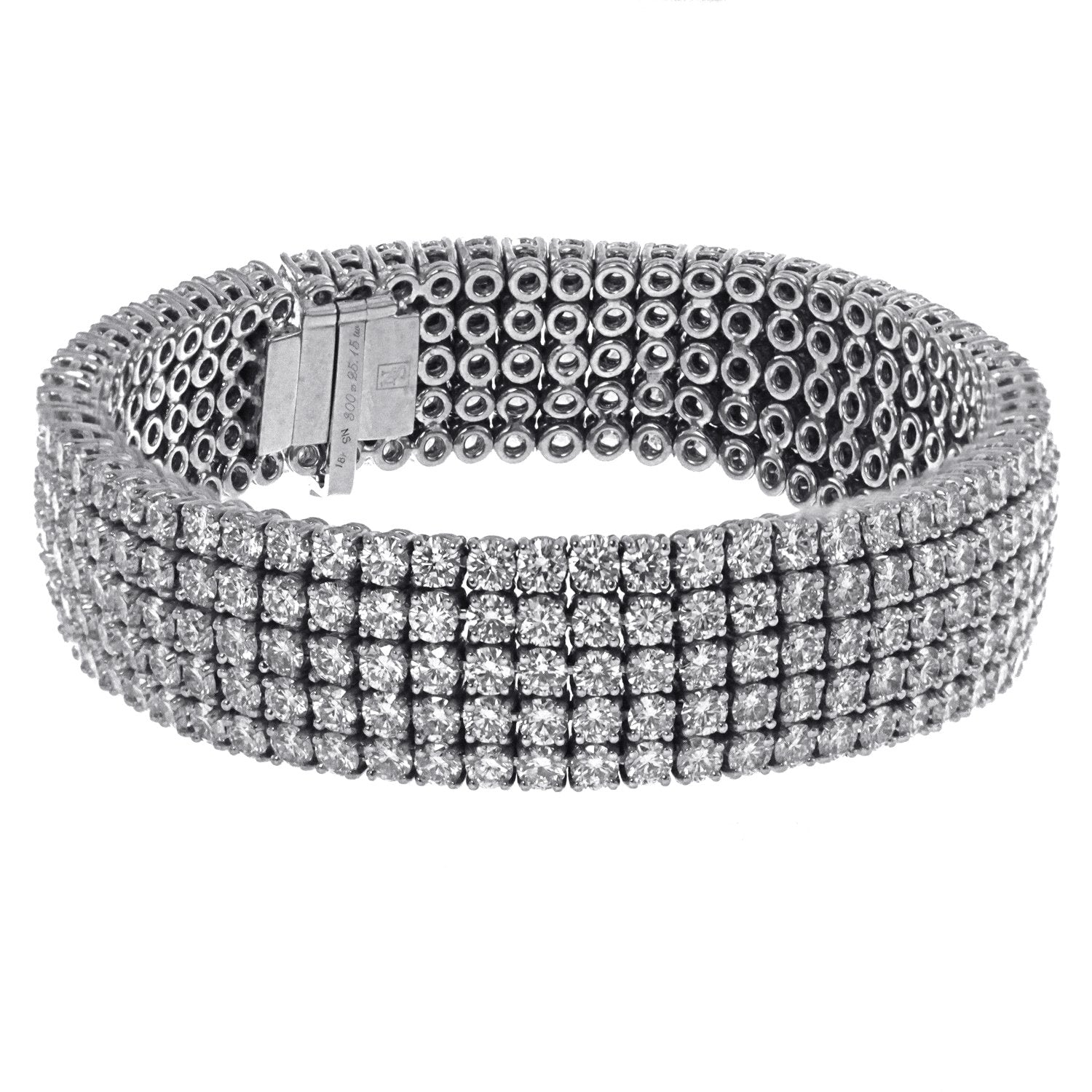 18K White Gold Diamond Bracelet with Five Rows And A Total Of 25.15 CT Diamonds