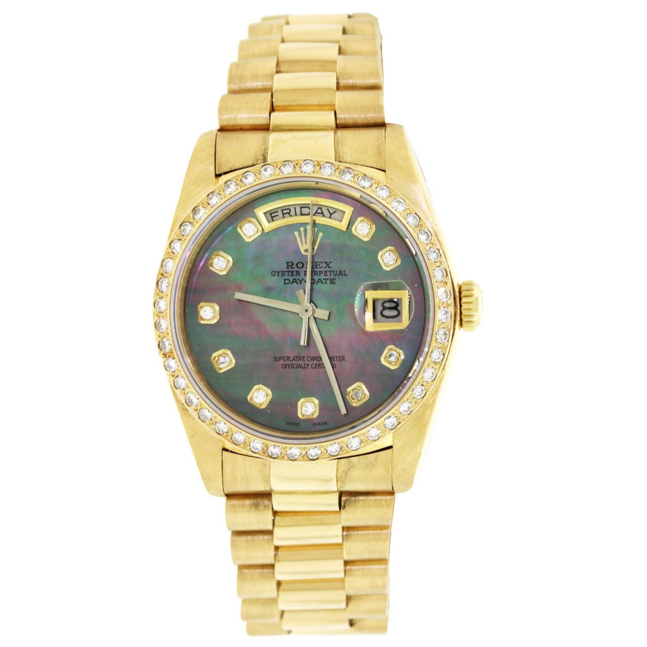 18K Yellow Gold Rolex Diamond Watch, Day Date President 36mm, Mother Of Pearl Diamond Dial With 1.75CT Diamond Bezel