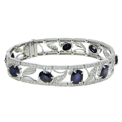 Diamond and Sapphire Floral Design Bracelet