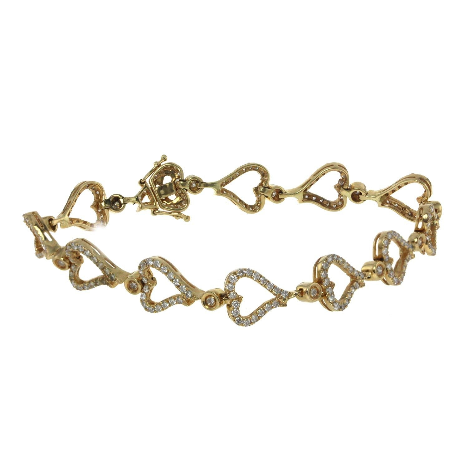 14K Yellow Gold Diamond Heart Fancy Bracelet With 3.09CT