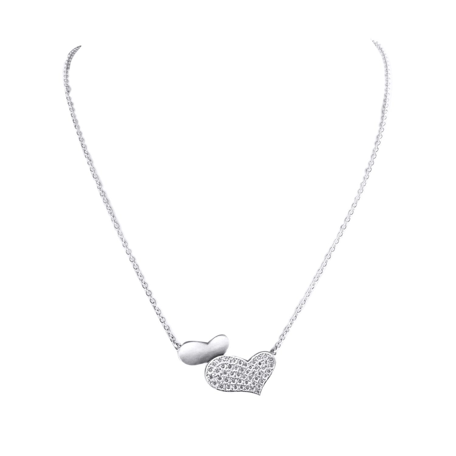 18K White gold Double Heart Diamond Pendant with Chain 0.54CT