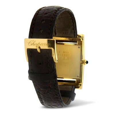 "Yellow Gold and Leather Diamond "" Your Hour"" Chopard Watch"
