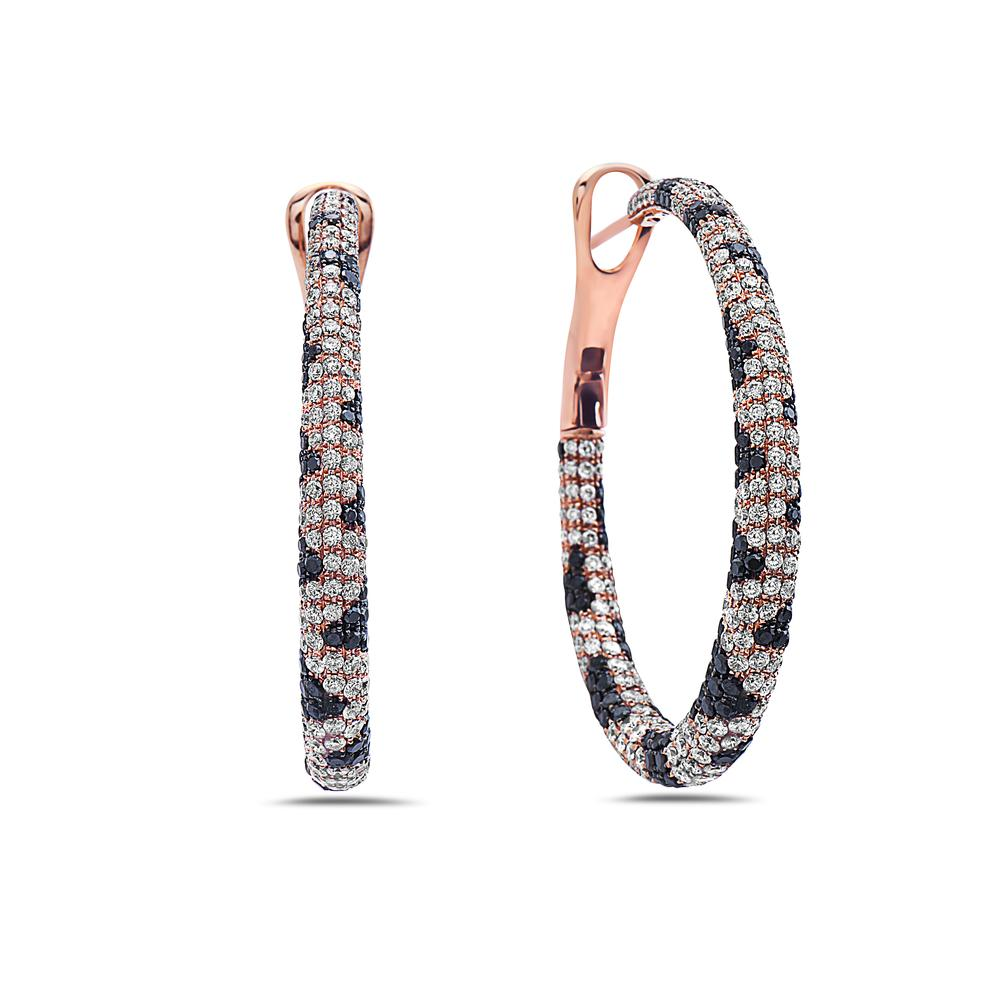 18K Rose Gold Ladies Earrings With 11.83 CT Diamonds