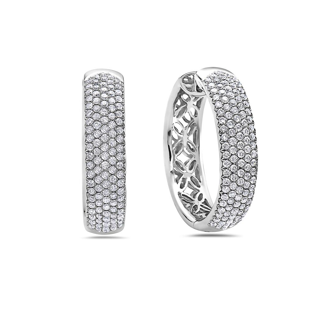 14K White Gold Ladies Earrings With 6.48 CT Diamonds