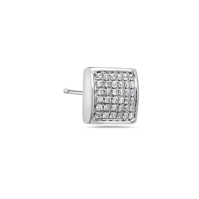 14K White Gold Ladies Earrings With Round Shaped Diamonds