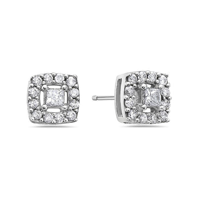 10K White Gold Ladies Earrings With 0.75 CT Diamonds