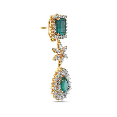 18K Yellow Gold Ladies Earrings With White: 6.77 CTW Emerald: 12.09 CTW Diamonds