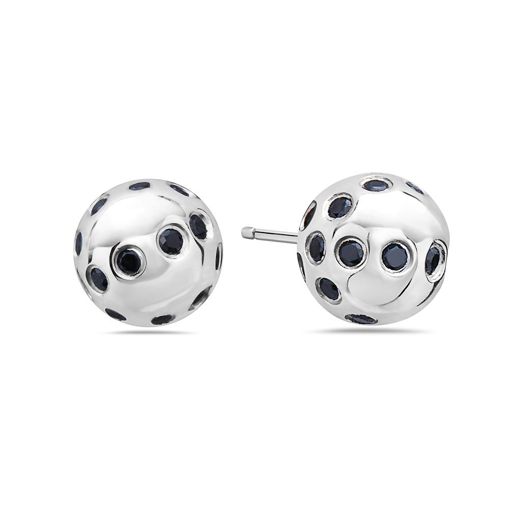 18K White Gold Ladies Earrings Round Shaped Diamonds