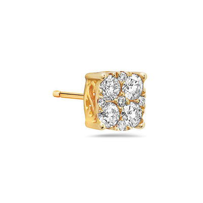 14K Yellow Gold Ladies Earrings With Diamonds 0.5 CT - 1.5 CT