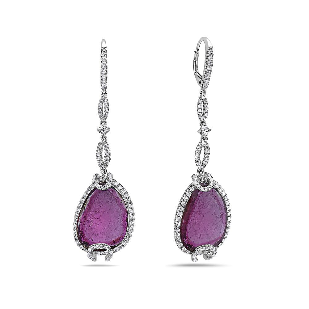 18K White Gold Ladies Earrings With Diamonds and Rubies
