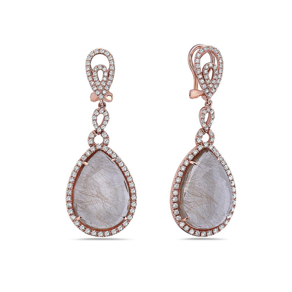 18K Rose Gold Ladies Earrings With White Diamonds